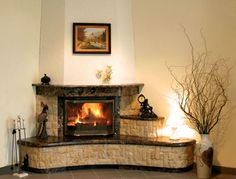 Dark brown Fireplace frame and hearth Corner Fireplace Mantels, Fireplace Frame, Fake Fireplace, Bedroom Fireplace, Living Room With Fireplace, Fireplace Design, Living Room Modern, Interior Design Living Room, Traditional Fireplace