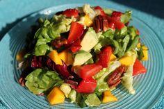 Strawberry Mango Salad with Pomegranate-Lemon Vinaigrette and Honey Toasted Pecans