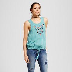 Women's Tie-waist Tank Top - Xhilaration (Juniors') Turquoise Xxl