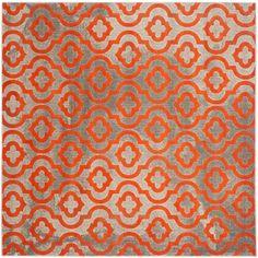 Porcello Light Grey/Orange 5 ft. 1 in. x 5 ft. 1 in. Square Area Rug
