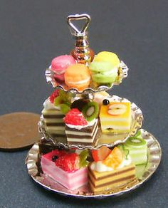 1 12 Scale Metal 3 Tier Cake Stand With Cakes Dolls House Miniature Accessory | eBay