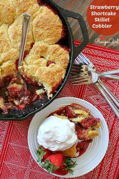 Strawberry Shortcake Skillet Cobbler Recipe - from RecipeGirl.com