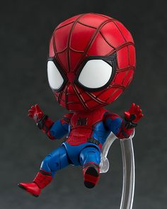 "Your friendly neighborhood Spider-Man is coming back to the Nendoroids! From the movie ""Spider-Man: Homecoming"" comes a Nendoroid of your friendly neighborhood Spider-Man! He is dressed up in his new costume which has been carefully detailed w. Avengers Series, Marvel Avengers, Marvel Comics, Spiderman Bebe, Anime Figures, Action Figures, Chibi Marvel, Avengers Wallpaper, Mecha Anime"