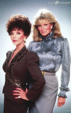 Linda Evans & Joan Collins on Dynasty. Love that famous pool fight scene!