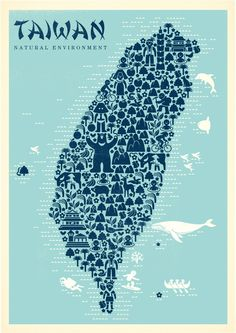 Map of Taiwan. Could do without the stereotypical font Taiwan is in. Travel Maps, Travel Posters, Taiwan Culture, Taiwan Image, Taiwan Travel, Thinking Day, Cartography, Beautiful Islands, Plans