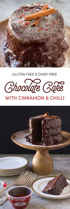 Gluten Free and Dairy Free Chocolate Layer Cake with Rich Chocolate Ganache. The cinnamon, coffee, and chili make it taste like a Mexican Cafe Mocha. So good!