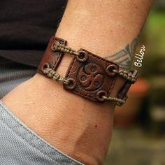 Bracelet homme aspect cuir fimo : Bracelet par bellou