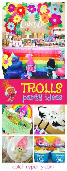 Check out this awesome Trolls birthday party! The balloon decor is so much fun!! See more party ideas and share yours at CatchMyParty.com