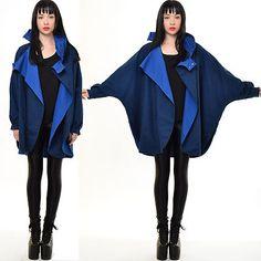 Vtg 80s Cocoon AVANT GARDE Jacket BATWING Origami Cape FUNNEL NECK Draped Coat | eBay