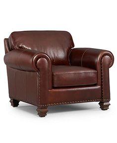Lauren Ralph Lauren Leather Living Room Chair, Stanmore - furniture - Macy's