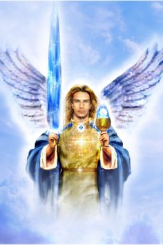 """Portrait of: Holy Warrior and Defender of Heaven/Church Archangel Michael - """"Princeps milítia cæléstis exércitus Michaelis Archangeli"""" ~ Holding the Sacred Blue Sword Of Truth and Chalice Cup of Eucharist."""