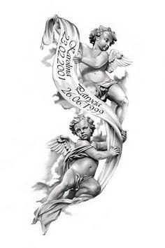 Angels tattoo design by Engel Tattoo Design von Trendy Tattoos, Cute Tattoos, Leg Tattoos, Tribal Tattoos, Tattoos For Guys, Sleeve Tattoos, Tattoo Design Drawings, Tattoo Sketches, Tattoo Designs Men