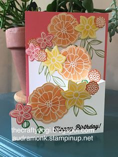 the crafty yogi: A Waterfall of Wonderful, Remarkable Blog Hop, Stampin'Up, Falling Flowers
