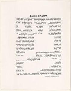 Pablo Picasso (calligramme) / Guillaume Apollinaire (notes), 1917, Bibliothèque nationale de France, Paris