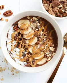 Easy Healthy Recipes, Sweet Recipes, Snack Recipes, Healty Lunches, Brunch Bar, Baked Banana, Breakfast Bowls, Smoothie Bowl, Fruit Smoothies
