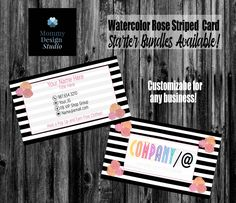 Black & White Striped Watercolor Rose Floral Business Card - HO Approved - HO Compliant Fonts/Colors - Bundles Available - MLM Direct Sales Lularoe Business Cards, Printing Services, Online Printing, Lipsense Business Cards, Elegant Business Cards, Name Logo, Standard Business Card Size, Watercolor Rose, Company Names