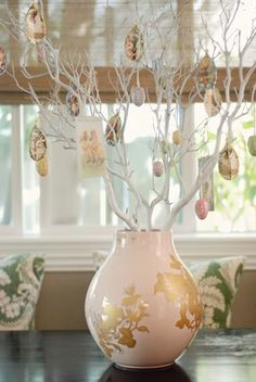 Easter trees are easy to make with a lovely #vase, painted branches, hanging eggs.