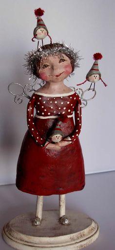 <h1<p>>BOY HOWDIE PAPIER MACHE FOLK ART by Dawn Tubbs</h1>Sculpted Christmas Folk Art Angel Birds