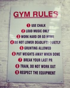 The rules at my new gym Powerlifting Gym, Weightlifting, Crossfit Box, Crossfit Motivation, Crossfit Quotes, Workout Humor, Gym Workouts, Gym Setup, Work Train