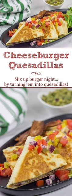 Mix up burger night.by turning 'em into Cheeseburger Quesadillas! These 'dillas are a fun and delicious twist on a classic cheeseburger! Wrap Recipes, Entree Recipes, Steak Recipes, Veggie Recipes, Low Carb Recipes, Burrito Recipes, Burger Night, Good Burger, Family Meals