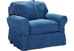 Cindy Crawford Home Beachside Blue Denim Chair