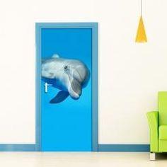 Door Cover Dolphin Delfino Vinyl Door Sticker Adesivo da Porta