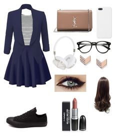 """""""Untitled #16"""" by ioaaaannnnnaaaaaaaa on Polyvore featuring Lipsy, LE3NO, Converse, Yves Saint Laurent, Frends and FOSSIL"""
