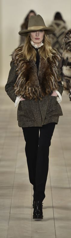 Ralph Lauren Collection Fall 2015 Ready-to-Wear: A black tweed jacket is paired with a shearling capelet