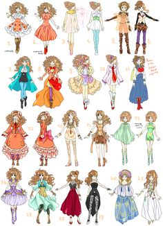 outfits - could copy the patterns to make clothes for dolls and Barbies