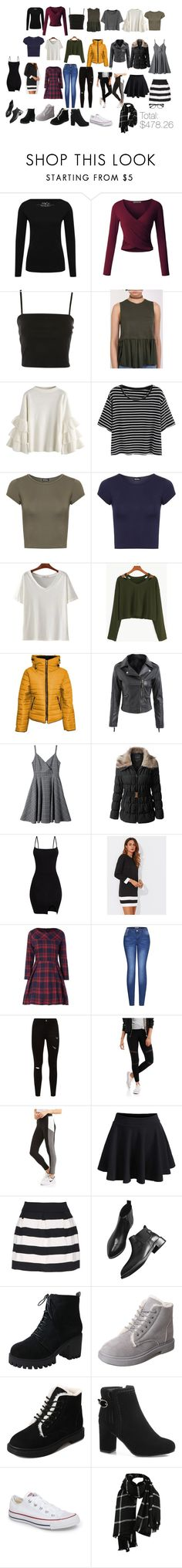 """Capsule Wardrobe"" by ibratley on Polyvore featuring M&Co, LE3NO, Topshop, Pilot, WearAll, Malaika, 2LUV, Converse and EyeBuyDirect.com"