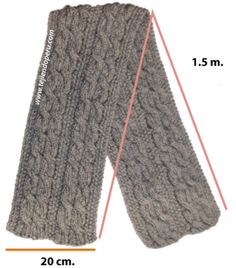 bufanda con trenzas reversibles - reversible cables scarf Crochet Crafts, Knit Crochet, New Tricks, Loom Knitting, Knitting Projects, Mittens, Cowl, Scarves, Mens Fashion
