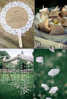 Ideas DIY para hacer con blondas - New Sites Wedding Favors, Diy Wedding, Rustic Wedding, Wedding Decorations, Wedding Tables, Decor Wedding, Diy Y Manualidades, Diy And Crafts, Paper Crafts