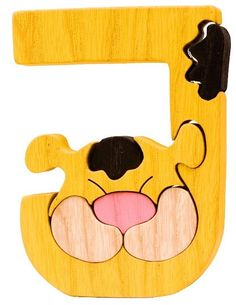 Montessori - Waldorf wooden puzzle letter J, made by hand of maple wood,no harmful colors and no lacquer