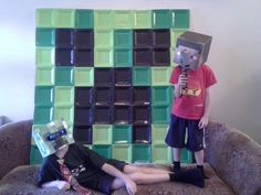 Completed Minecraft Creeper photo backdrop.  Placed it outside on the patio for kids to had some photo fun.