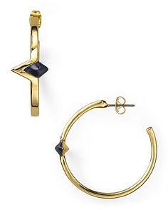 House of Harlow 1960 Gold Plated Navy Triangle Hoop Earrings | Bloomingdale's
