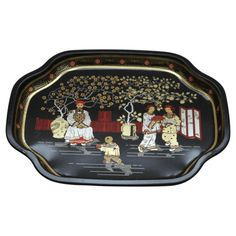 Vintage Black Chinoiserie Mini Tray Made in by TheSilverOyster