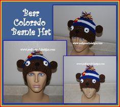 Free #crochet pattern: Bear Colorado Beanie Hat by Posh Pooch Designs