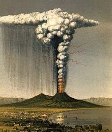 1822 artist's impression of the eruption of Vesuvius, depicting what the AD 79 eruption may have looked like, by the English geologist George Julius Poulett Scrope.