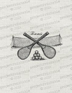 Vintage Victorian sport TENNIS racket ball by ProjectPrintable, $0.95