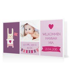 Geburtskarte Willkommen mit Wimpeln in Flieder - Klappkarte flach lang #Geburt #Geburtskarten #Mädchen #Foto #kreativ #modern https://www.goldbek.de/geburt/geburtskarten/maedchen/geburtskarte-willkommen-mit-wimpeln?color=flieder&design=f7f75&utm_campaign=autoproducts
