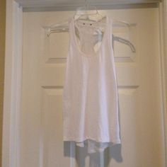 White lace racer back tank Ivory racerback tank top. Lace back Express Tops Tank Tops