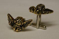 Gold Cherub Cufflinks Free Gift Bag by Cufflinked on Etsy