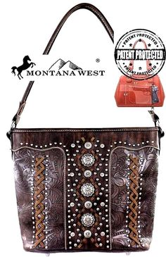 Montana West~Concho Style Hobo Handbag~Western Tooled Conceal Carry Purse~Coffee…