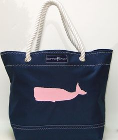 Nautical Bag with Pink Whale! Nautical Anchor Tote Bag - Rope handles - Beach and Nautical totes constructed from Marine  -  Outdoor grade fabrics and   finishings!http://www.purseladytoo.com/skipper-bags/