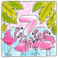 Kaart - Zeven Jaar - Greetz Birthday Wishes, Birthday Cards, Happy Birthday, Baby Girl Birthday, Blond Amsterdam, Happy B Day, Happy Quotes, Party Planning, Hand Lettering