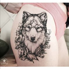Wolf Tattoo Designs and Ideas on Thigh