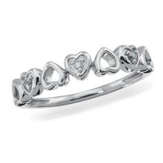Sterling Silver and Diamond Accent Fashion Ring, 1/20 ctw.