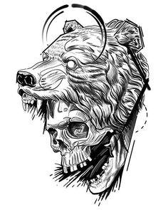 Ouroboros - 'dark bear' (by edercarvalho). Skull Tattoos, Animal Tattoos, Body Art Tattoos, Norse Tattoo, Viking Tattoos, Design Tattoo, Tattoo Designs, Tattoo Sketches, Tattoo Drawings