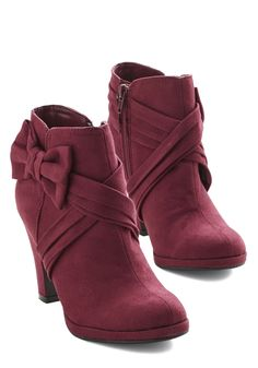 Burgundy Bow Booties