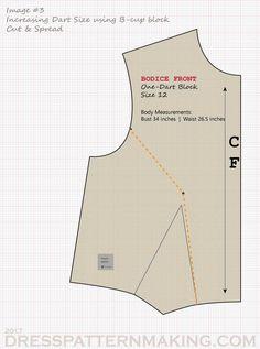 Large-Bust Adjustment - Dress Patternmaking Size 12 Body, Wedding Dress Sewing Patterns, Orange Line, B Cup, Pattern Drafting, Simplicity Patterns, Jazz, Bodice, Stitch